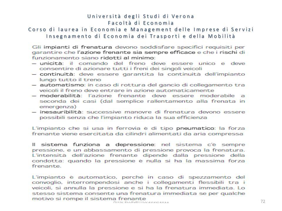 72 Università degli Studi di Verona Facoltà di Economia Corso di laurea in Economia e Management delle Imprese di Servizi Insegnamento di Economia dei Trasporti e della Mobilità Anno accademico 2010/2011