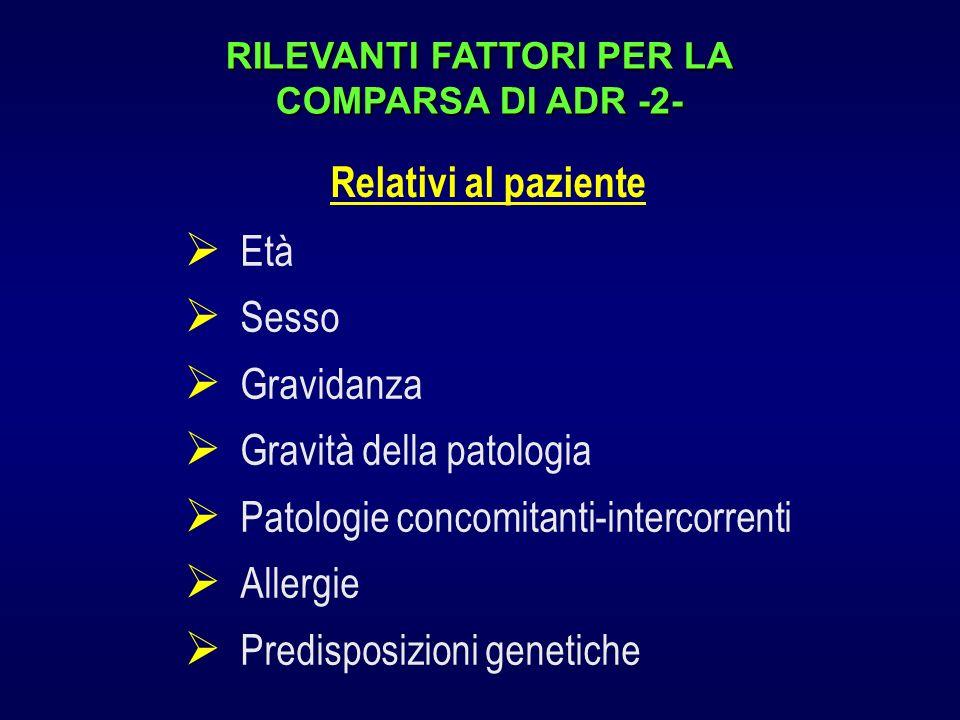 RILEVANTI FATTORI PER LA COMPARSA DI ADR -2- Età Sesso Gravidanza Gravità della patologia Patologie concomitanti-intercorrenti Allergie Predisposizion