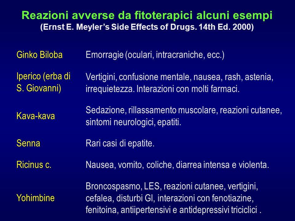 Ricinus c. Nausea, vomito, coliche, diarrea intensa e violenta. Kava-kava Sedazione, rillassamento muscolare, reazioni cutanee, sintomi neurologici, e
