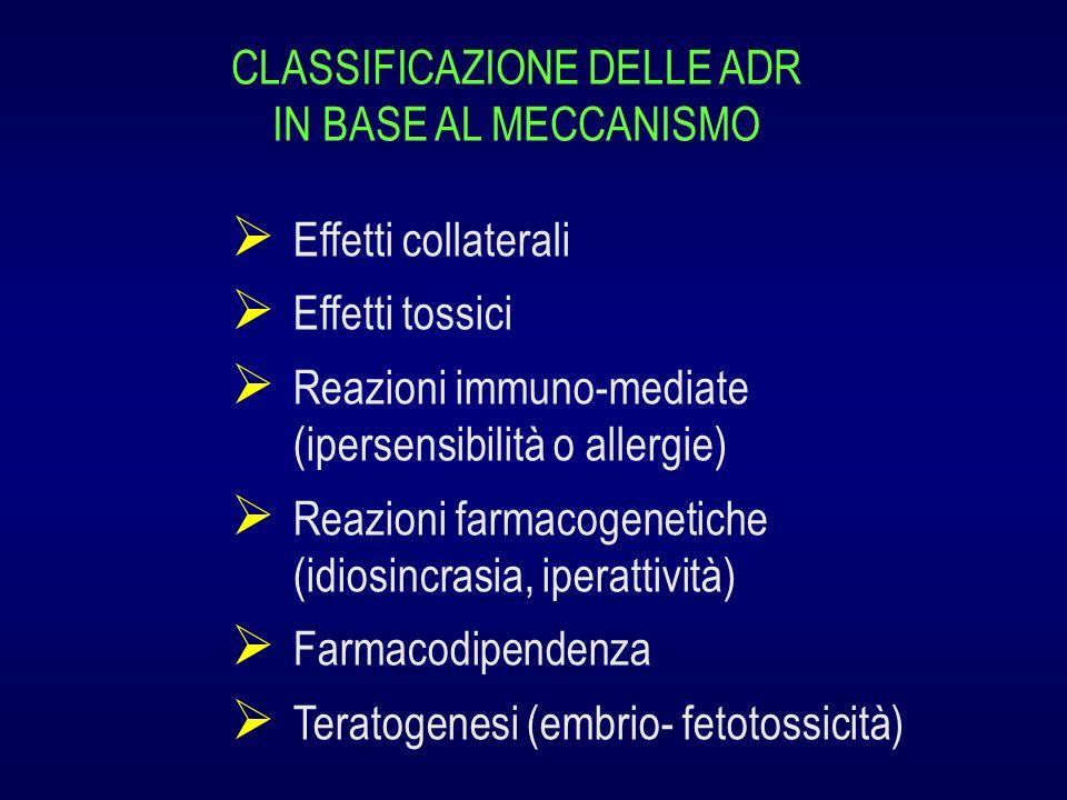CLASSIFICAZIONE DELLE ADR IN BASE AL MECCANISMO Effetti collaterali Effetti tossici Reazioni immuno-mediate (ipersensibilità o allergie) Reazioni farm