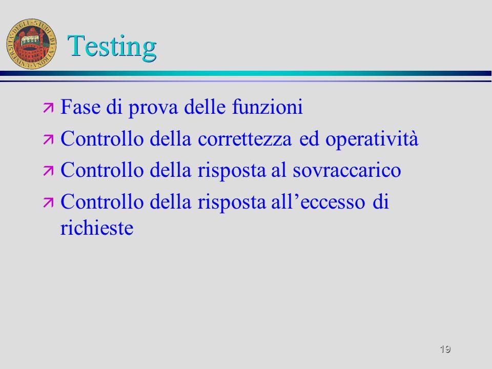 19 Testing ä Fase di prova delle funzioni ä Controllo della correttezza ed operatività ä Controllo della risposta al sovraccarico ä Controllo della ri