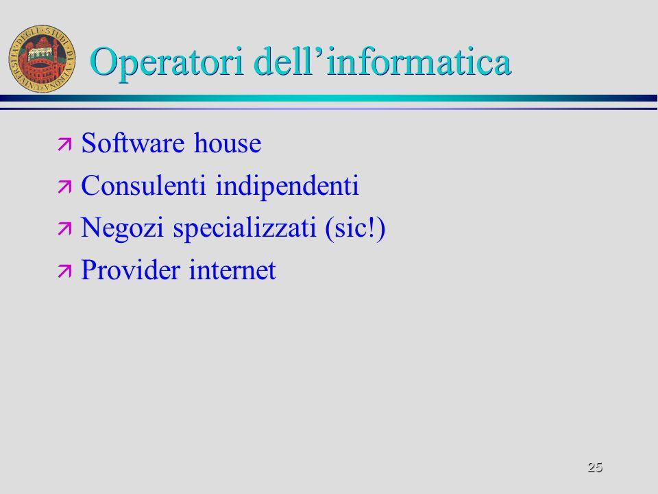 25 Operatori dellinformatica ä Software house ä Consulenti indipendenti ä Negozi specializzati (sic!) ä Provider internet