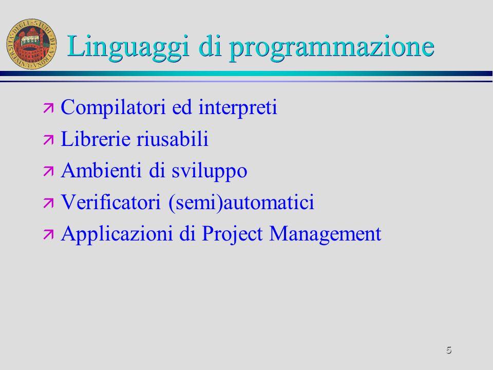 5 Linguaggi di programmazione ä Compilatori ed interpreti ä Librerie riusabili ä Ambienti di sviluppo ä Verificatori (semi)automatici ä Applicazioni d