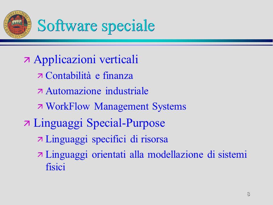 8 Software speciale ä Applicazioni verticali ä Contabilità e finanza ä Automazione industriale ä WorkFlow Management Systems ä Linguaggi Special-Purpo