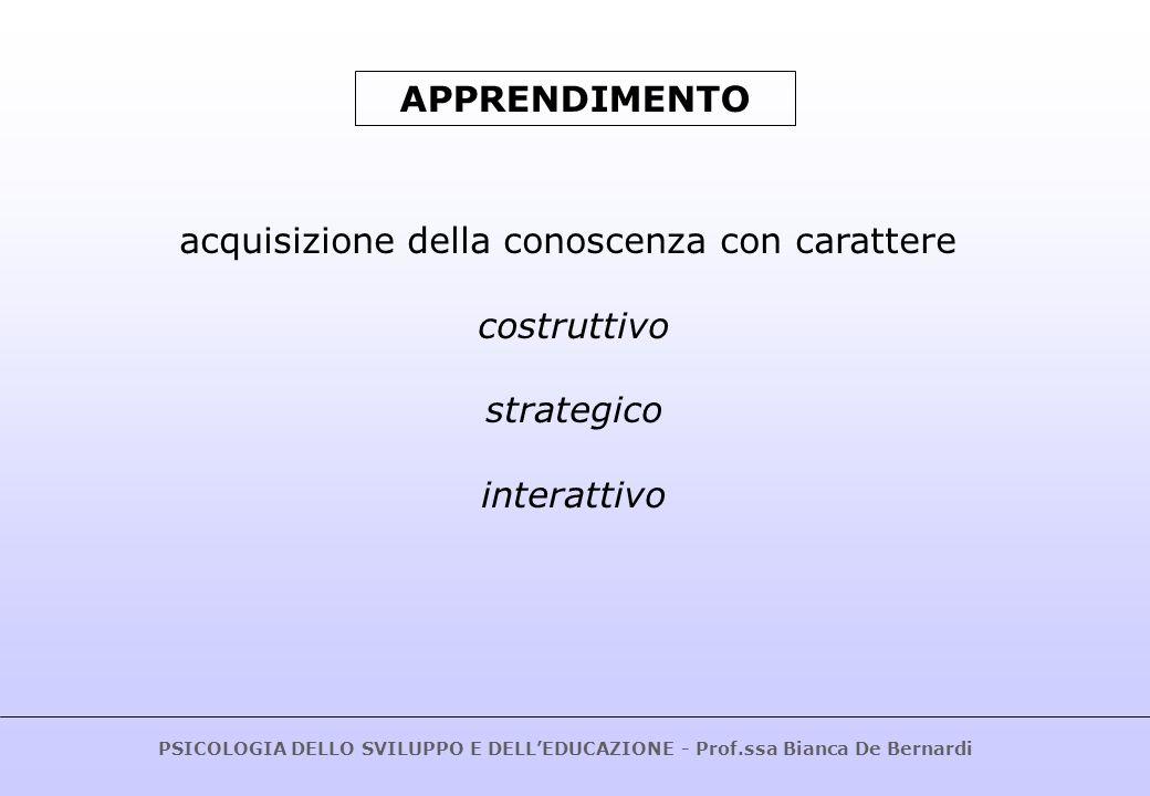 PSICOLOGIA DELLO SVILUPPO E DELLEDUCAZIONE - Prof.ssa Bianca De Bernardi.