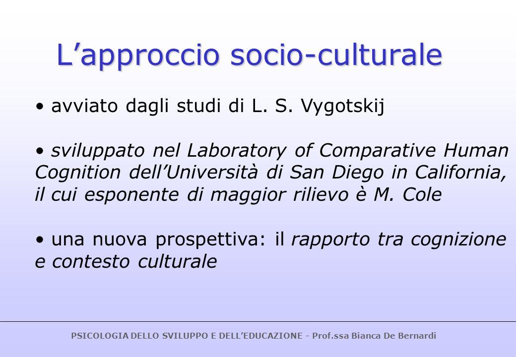 PSICOLOGIA DELLO SVILUPPO E DELLEDUCAZIONE - Prof.ssa Bianca De Bernardi LA PSICOLOGIA STORICO-CULTURALE DI L.
