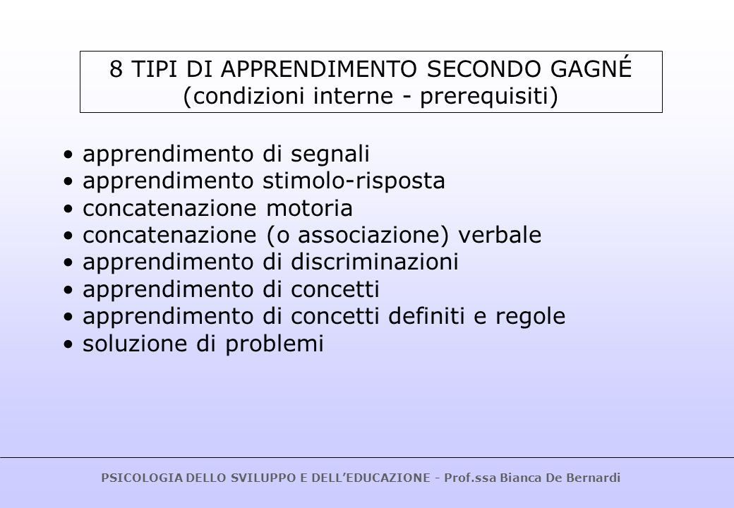 PSICOLOGIA DELLO SVILUPPO E DELLEDUCAZIONE - Prof.ssa Bianca De Bernardi modi di presentazione degli stimoli controllo della situazione di apprendimento (condizioni ambientali progettate).