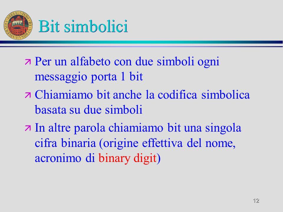 12 Bit simbolici ä Per un alfabeto con due simboli ogni messaggio porta 1 bit ä Chiamiamo bit anche la codifica simbolica basata su due simboli ä In a