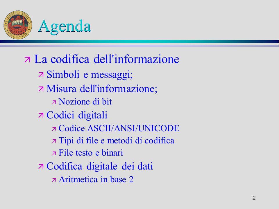 2 Agenda ä La codifica dell'informazione ä Simboli e messaggi; ä Misura dell'informazione; ä Nozione di bit ä Codici digitali ä Codice ASCII/ANSI/UNIC