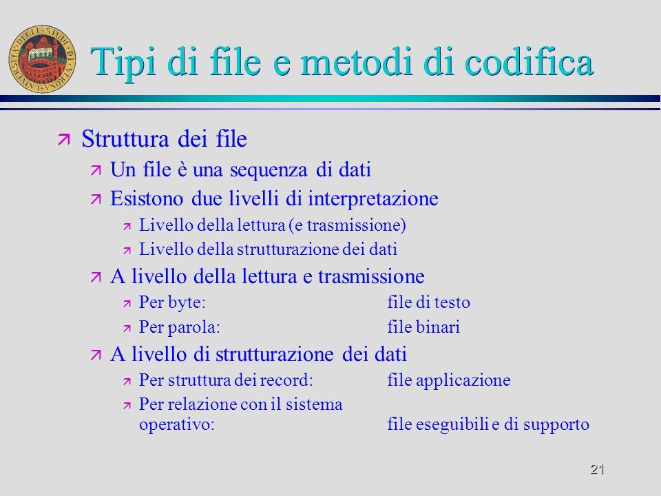 21 Tipi di file e metodi di codifica ä Struttura dei file ä Un file è una sequenza di dati ä Esistono due livelli di interpretazione ä Livello della l