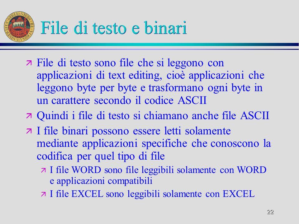 22 File di testo e binari ä File di testo sono file che si leggono con applicazioni di text editing, cioè applicazioni che leggono byte per byte e tra