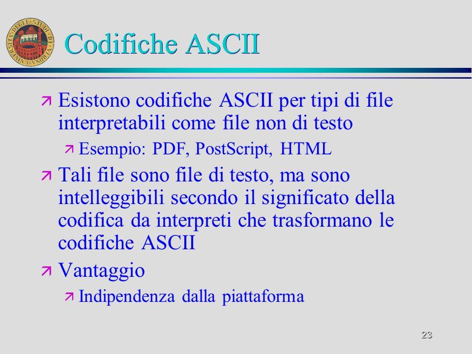 23 Codifiche ASCII ä Esistono codifiche ASCII per tipi di file interpretabili come file non di testo ä Esempio: PDF, PostScript, HTML ä Tali file sono