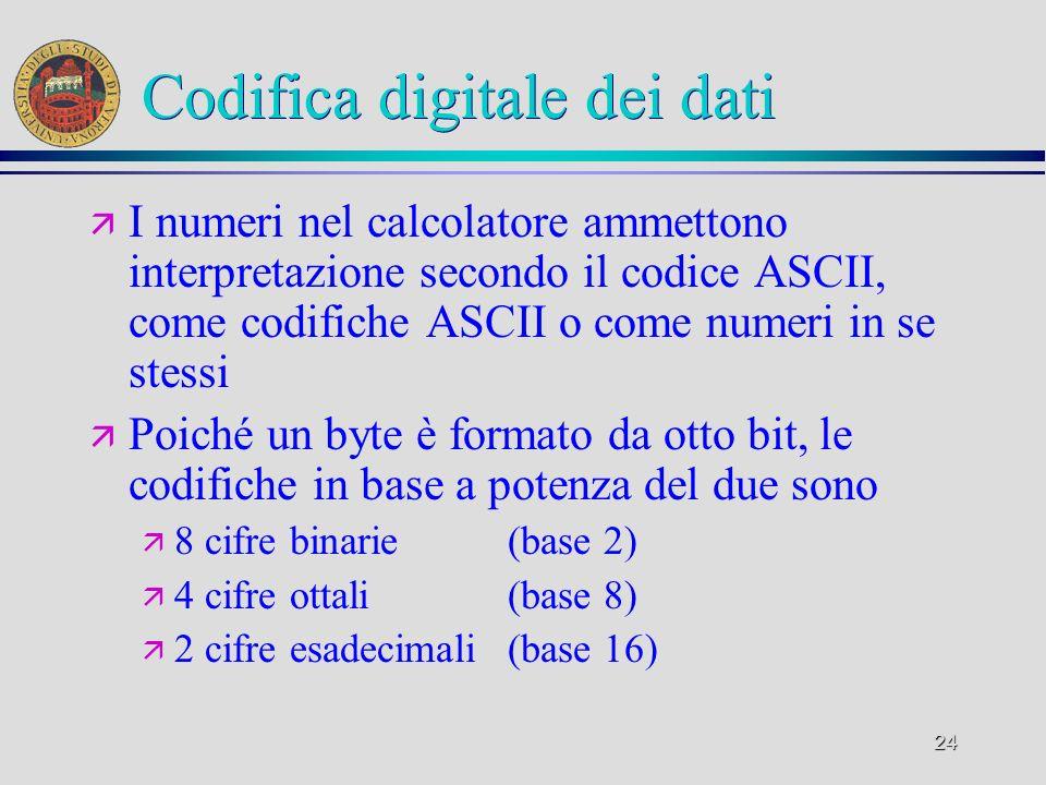 24 Codifica digitale dei dati ä I numeri nel calcolatore ammettono interpretazione secondo il codice ASCII, come codifiche ASCII o come numeri in se s