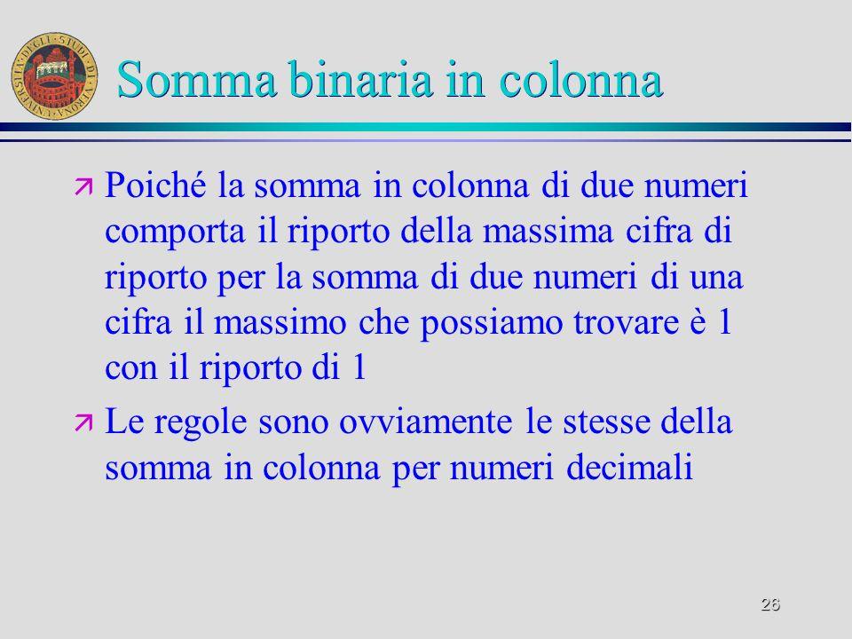 26 Somma binaria in colonna ä Poiché la somma in colonna di due numeri comporta il riporto della massima cifra di riporto per la somma di due numeri d