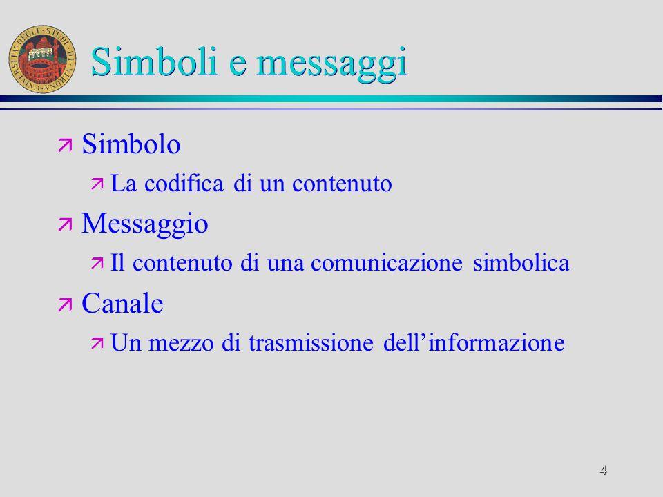 4 Simboli e messaggi ä Simbolo ä La codifica di un contenuto ä Messaggio ä Il contenuto di una comunicazione simbolica ä Canale ä Un mezzo di trasmiss