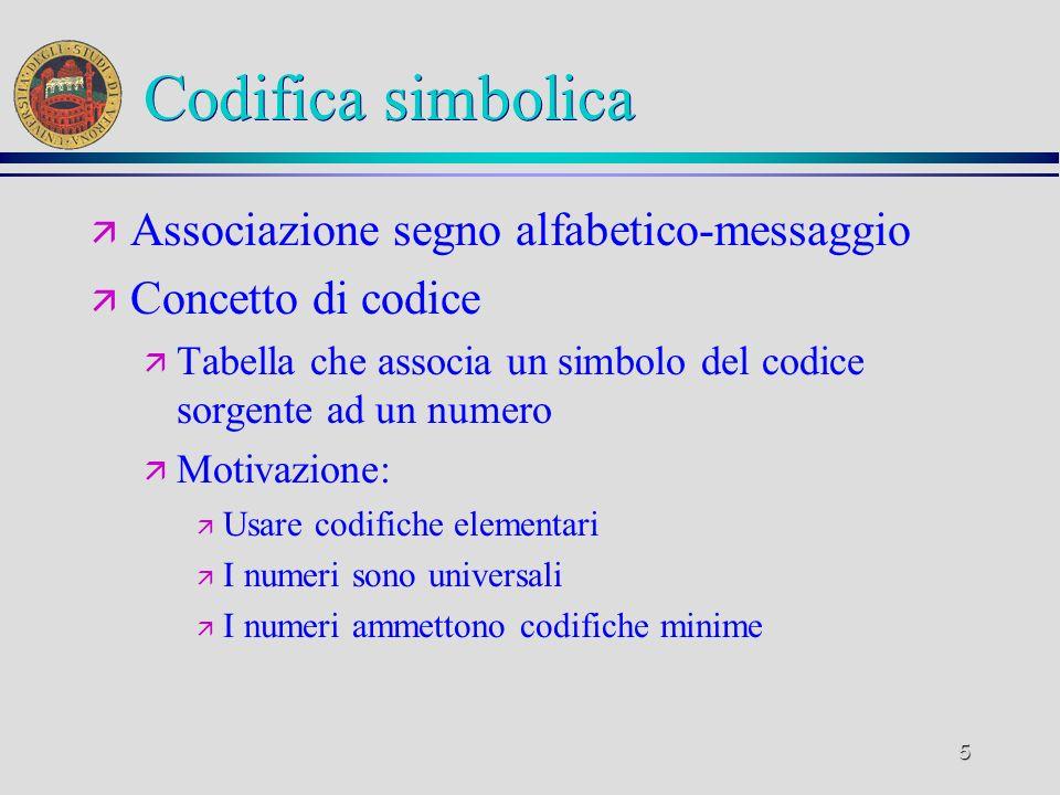5 Codifica simbolica ä Associazione segno alfabetico-messaggio ä Concetto di codice ä Tabella che associa un simbolo del codice sorgente ad un numero