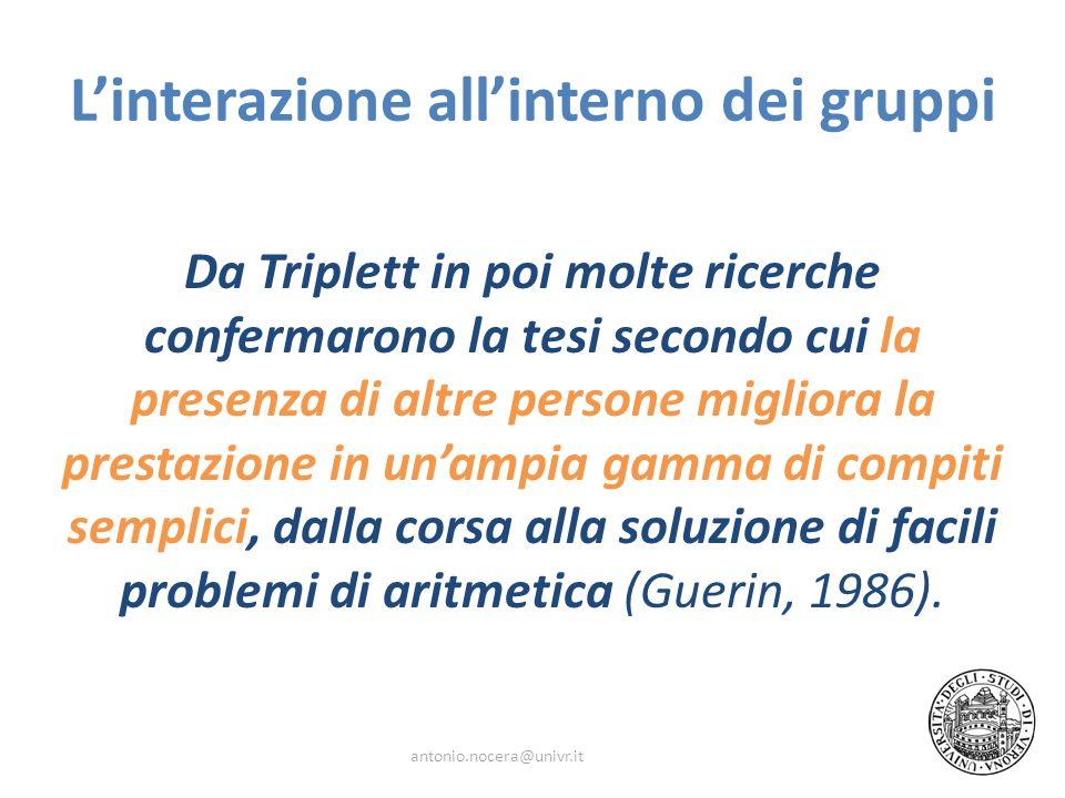 Linterazione allinterno dei gruppi Da Triplett in poi molte ricerche confermarono la tesi secondo cui la presenza di altre persone migliora la prestaz