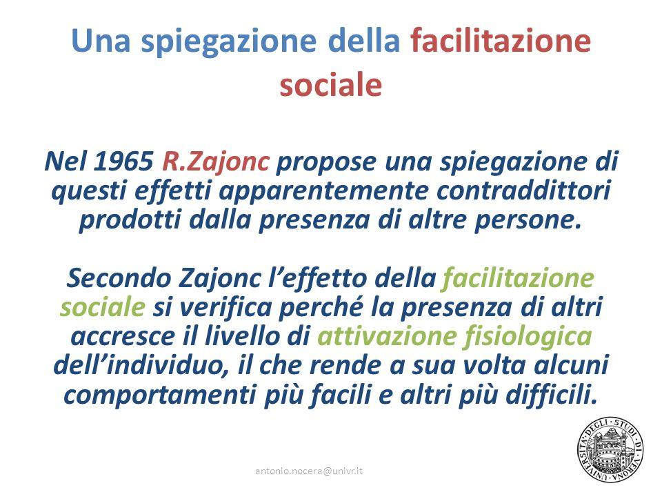 Una spiegazione della facilitazione sociale Nel 1965 R.Zajonc propose una spiegazione di questi effetti apparentemente contraddittori prodotti dalla p