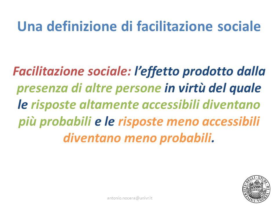 Una definizione di facilitazione sociale Facilitazione sociale: leffetto prodotto dalla presenza di altre persone in virtù del quale le risposte altam