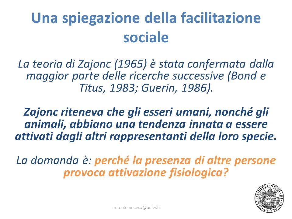 Una spiegazione della facilitazione sociale La teoria di Zajonc (1965) è stata confermata dalla maggior parte delle ricerche successive (Bond e Titus,