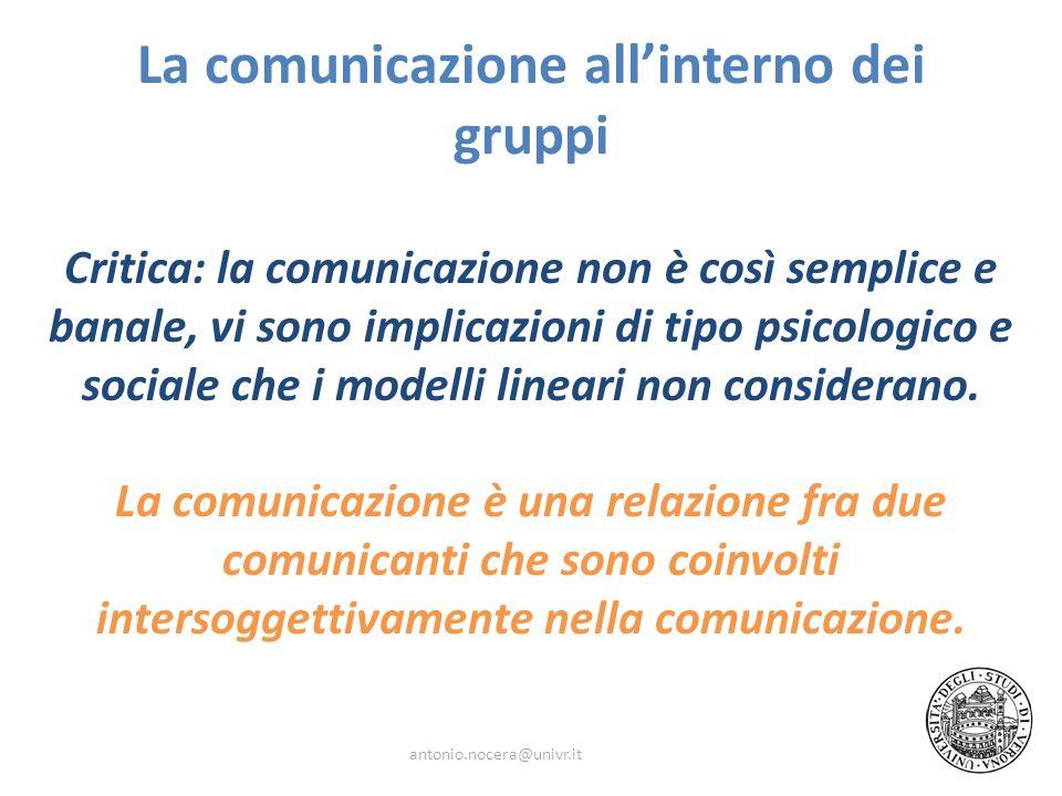 La comunicazione allinterno dei gruppi Critica: la comunicazione non è così semplice e banale, vi sono implicazioni di tipo psicologico e sociale che