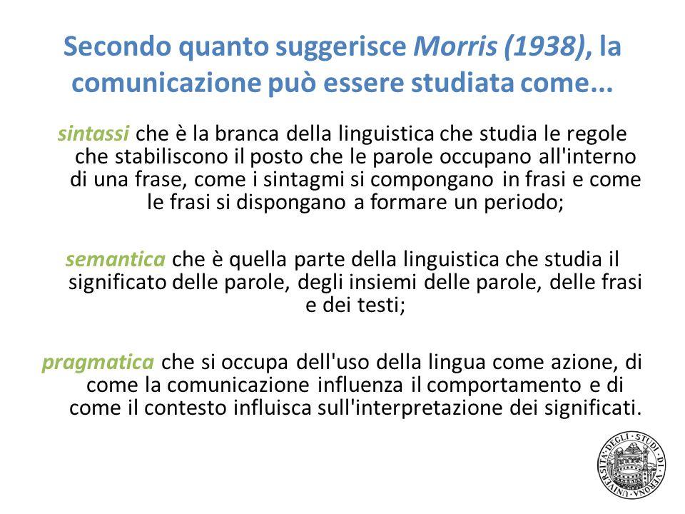 Secondo quanto suggerisce Morris (1938), la comunicazione può essere studiata come... sintassi che è la branca della linguistica che studia le regole
