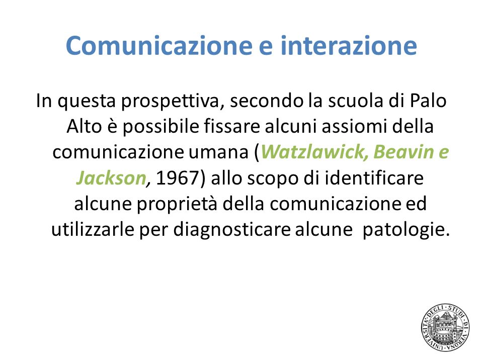 Comunicazione e interazione In questa prospettiva, secondo la scuola di Palo Alto è possibile fissare alcuni assiomi della comunicazione umana (Watzla
