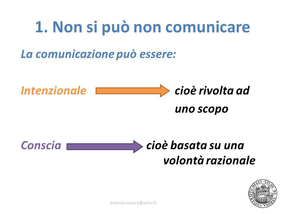 La comunicazione può essere: Intenzionale cioè rivolta ad uno scopo Conscia cioè basata su una volontà razionale antonio.nocera@univr.it 1. Non si può