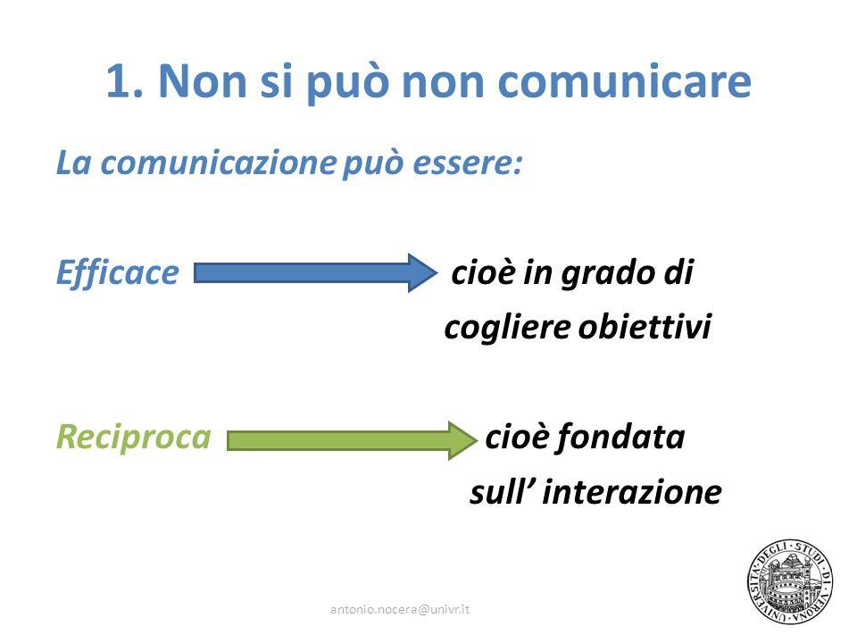 La comunicazione può essere: Efficace cioè in grado di cogliere obiettivi Reciproca cioè fondata sull interazione antonio.nocera@univr.it 1. Non si pu