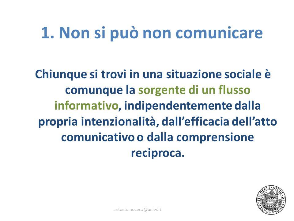 Chiunque si trovi in una situazione sociale è comunque la sorgente di un flusso informativo, indipendentemente dalla propria intenzionalità, dalleffic