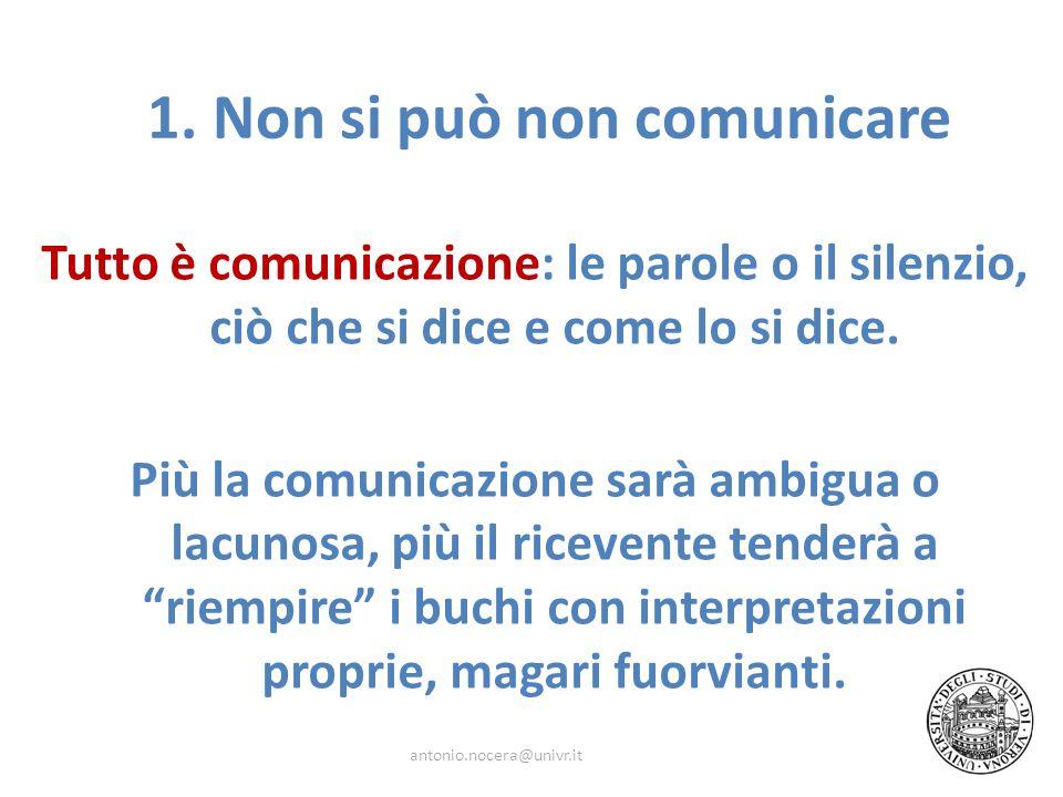 Tutto è comunicazione: le parole o il silenzio, ciò che si dice e come lo si dice. Più la comunicazione sarà ambigua o lacunosa, più il ricevente tend