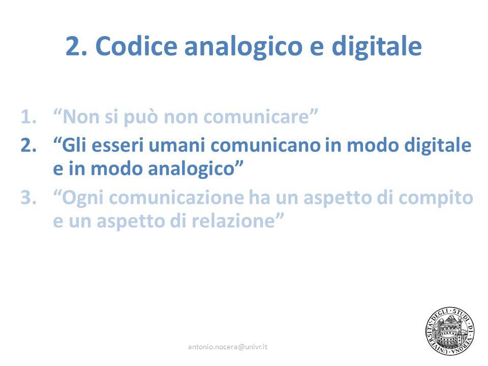 1.Non si può non comunicare 2.Gli esseri umani comunicano in modo digitale e in modo analogico 3.Ogni comunicazione ha un aspetto di compito e un aspe