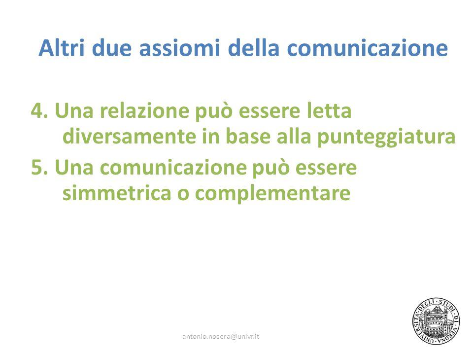 Altri due assiomi della comunicazione 4. Una relazione può essere letta diversamente in base alla punteggiatura 5. Una comunicazione può essere simmet