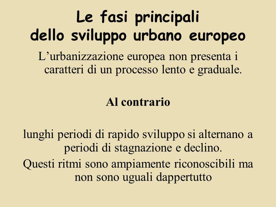 Lurbanizzazione europea non presenta i caratteri di un processo lento e graduale.
