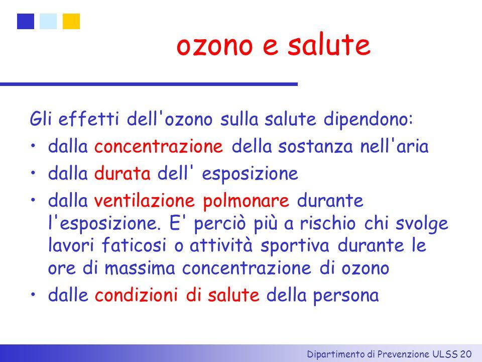 Dipartimento di Prevenzione ULSS 20 ozono e salute Gli effetti dell'ozono sulla salute dipendono: dalla concentrazione della sostanza nell'aria dalla