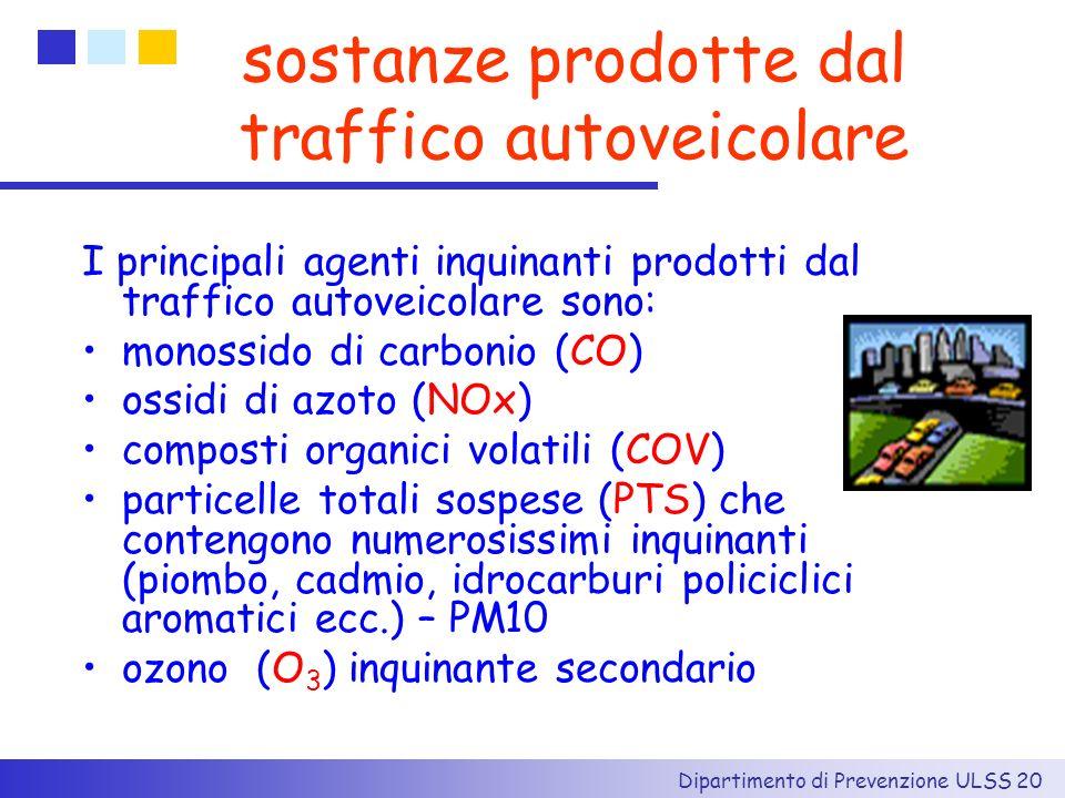 Dipartimento di Prevenzione ULSS 20 sostanze prodotte dal traffico autoveicolare I principali agenti inquinanti prodotti dal traffico autoveicolare so