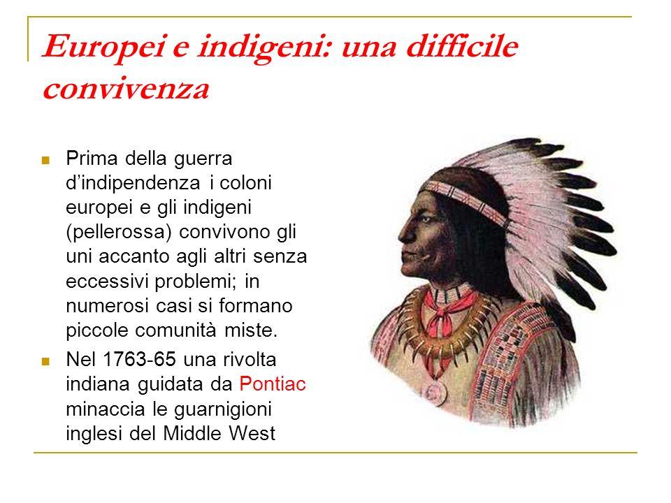 Europei e indigeni: una difficile convivenza Prima della guerra dindipendenza i coloni europei e gli indigeni (pellerossa) convivono gli uni accanto a