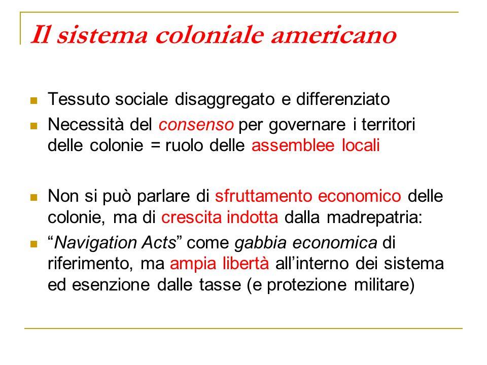 Il sistema coloniale americano Tessuto sociale disaggregato e differenziato Necessità del consenso per governare i territori delle colonie = ruolo del