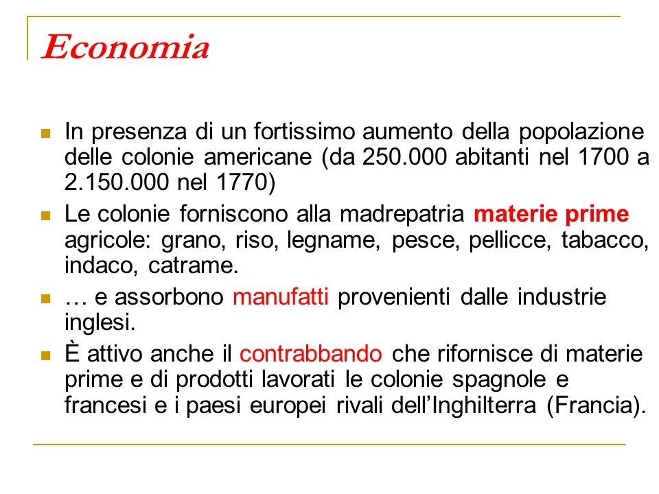 Economia In presenza di un fortissimo aumento della popolazione delle colonie americane (da 250.000 abitanti nel 1700 a 2.150.000 nel 1770) Le colonie