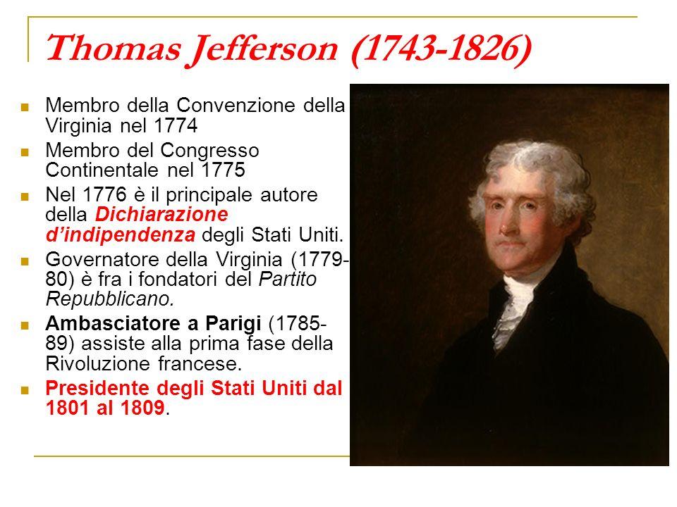 Thomas Jefferson (1743-1826) Membro della Convenzione della Virginia nel 1774 Membro del Congresso Continentale nel 1775 Nel 1776 è il principale auto