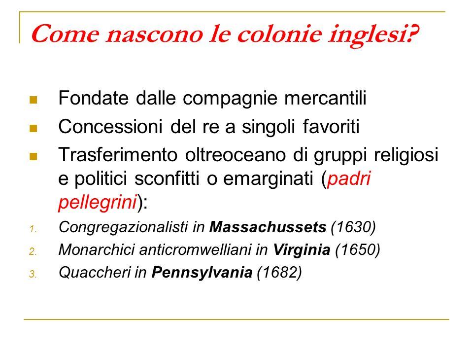 Come nascono le colonie inglesi? Fondate dalle compagnie mercantili Concessioni del re a singoli favoriti Trasferimento oltreoceano di gruppi religios