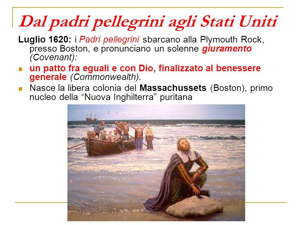 Dal padri pellegrini agli Stati Uniti Luglio 1620: i Padri pellegrini sbarcano alla Plymouth Rock, presso Boston, e pronunciano un solenne giuramento