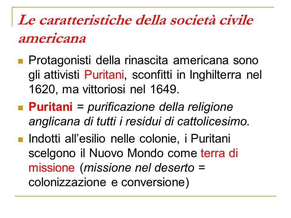 Le caratteristiche della società civile americana Protagonisti della rinascita americana sono gli attivisti Puritani, sconfitti in Inghilterra nel 162