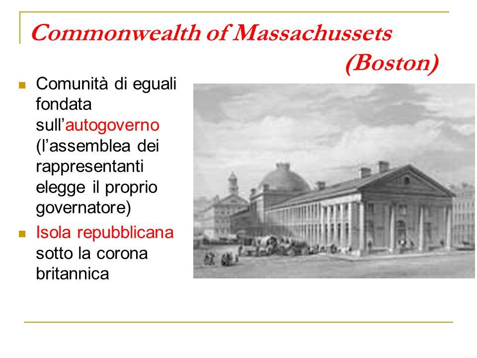 Commonwealth of Massachussets (Boston) Comunità di eguali fondata sullautogoverno (lassemblea dei rappresentanti elegge il proprio governatore) Isola