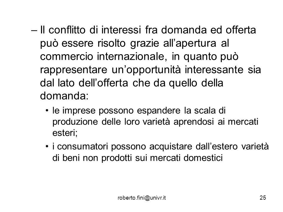 roberto.fini@univr.it25 –Il conflitto di interessi fra domanda ed offerta può essere risolto grazie allapertura al commercio internazionale, in quanto