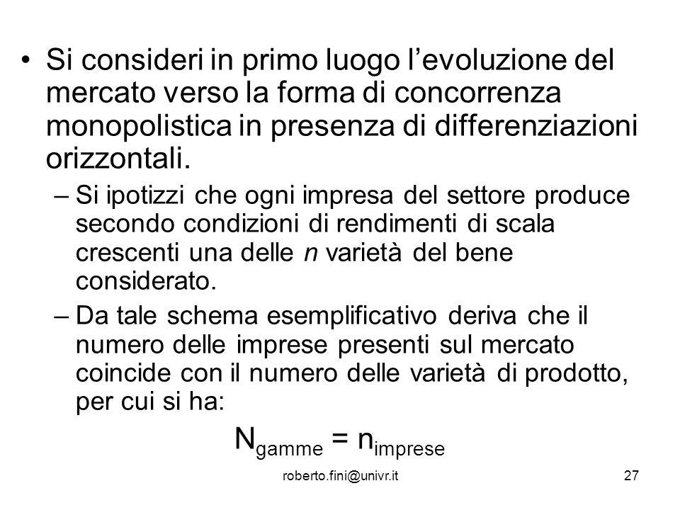 roberto.fini@univr.it27 Si consideri in primo luogo levoluzione del mercato verso la forma di concorrenza monopolistica in presenza di differenziazion