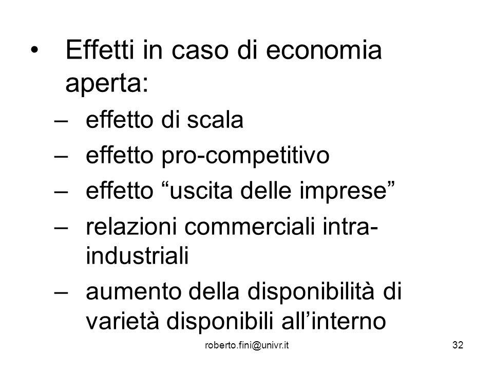 roberto.fini@univr.it32 Effetti in caso di economia aperta: –effetto di scala –effetto pro-competitivo –effetto uscita delle imprese –relazioni commer