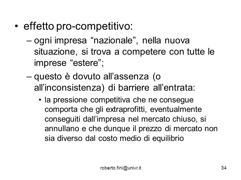 roberto.fini@univr.it34 effetto pro-competitivo: –ogni impresa nazionale, nella nuova situazione, si trova a competere con tutte le imprese estere; –q