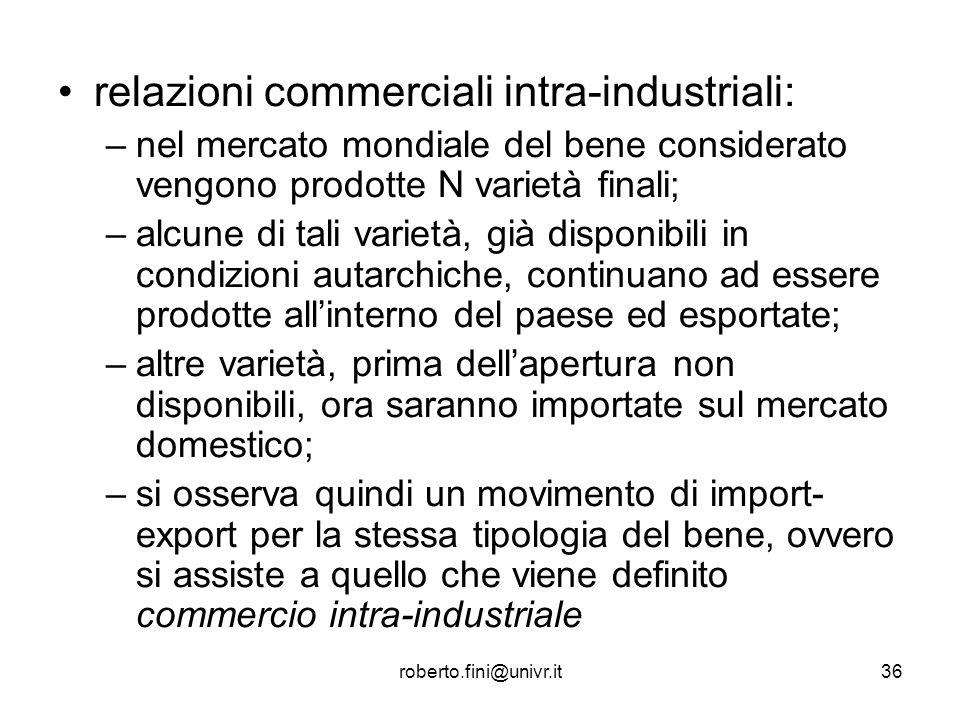 roberto.fini@univr.it36 relazioni commerciali intra-industriali: –nel mercato mondiale del bene considerato vengono prodotte N varietà finali; –alcune