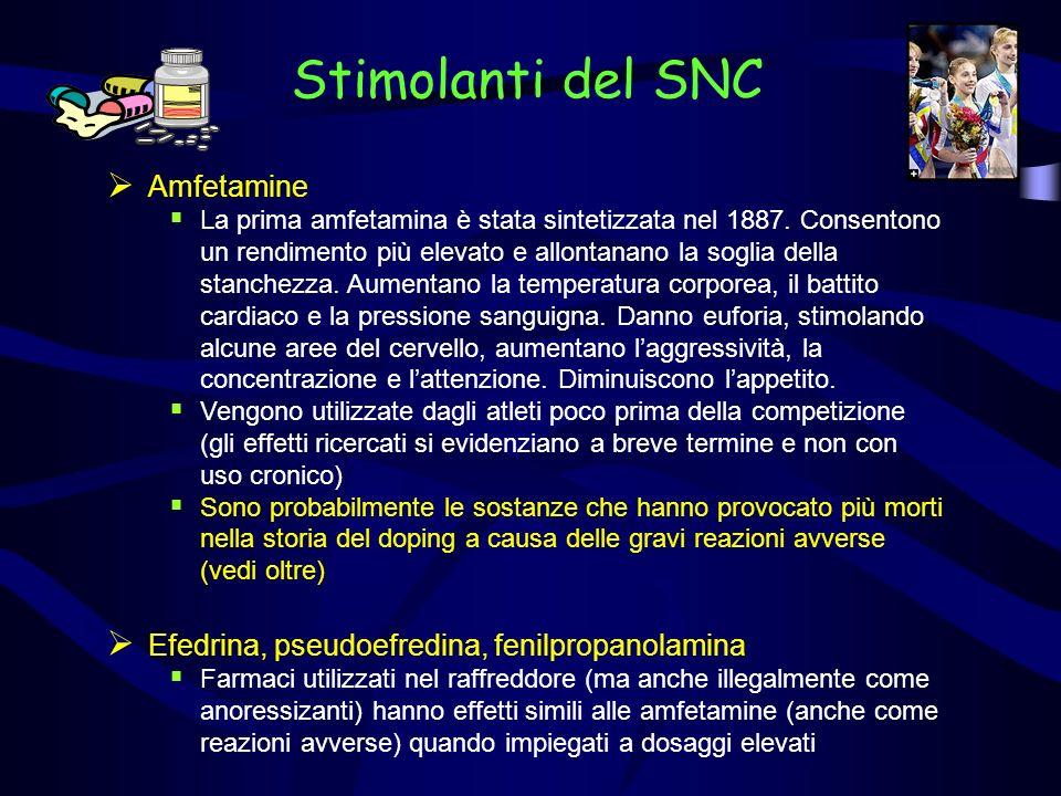 Stimolanti del SNC Amfetamine La prima amfetamina è stata sintetizzata nel 1887.
